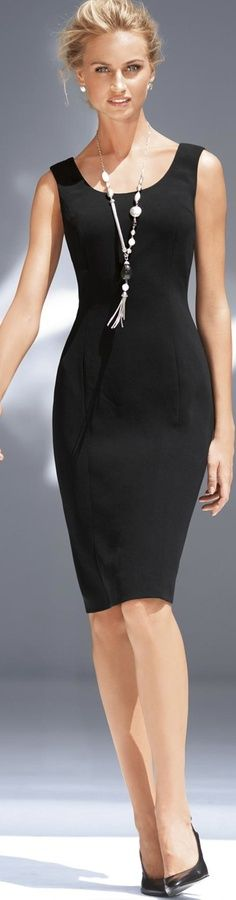 A classic black dress.  Always in fashion. Black and white cow print heels would set this off with a fun vibe