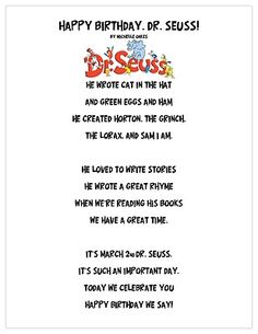 Use this poem as a jumping off point to create one for the opening section of Literacy Night or Dr Seuss' birthday March Dr. Seuss, Dr Seuss Week, Dr Seuss Activities, Book Activities, Sequencing Activities, Spring Activities, Learning Resources, Dr Seuss Crafts, Worksheets