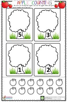 Hello everyone! We prepared an apple counting worksheet for little ones today. In this worksheet kids will cut the apple English Worksheets For Kids, Kindergarten Math Worksheets, Preschool Learning Activities, Preschool Activities, Kids Learning, Alphabet Phonics, Math For Kids, Exercise For Kids, Apples