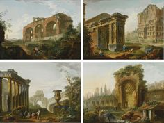 These four canvases depicting monuments of ancient Rome are amongst the earliest works painted by Hubert Robert after his arrival in Rome in 1754 in the train of the Duc de Choiseul, Louis XV's new ambassador to the Holy See. The artist went on to oversee the Louvre and is considered the first example of a curator.