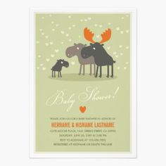Cute Moose Baby Shower Party Invitation featuring an illustrated moose family with their baby moose in hues of warm green orange and brown. Ideal for a baby boy or girl due to arrive this winter.