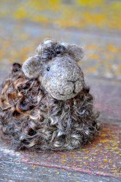 Needle Felted Sheep - Natural brown and grey wool lamb.