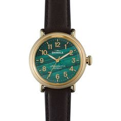 Shinola The Runwell Coin Edge Malachite Dial Deep Brown Leather Ladies... ($618) ❤ liked on Polyvore featuring jewelry, watches, leather dress watch, brown watches, brown leather watches, brown leather wrist watch and brown jewelry