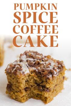 Pumpkin Spice Coffee Cake features a moist sour cream pumpkin cake loaded with brown sugar cinnamon streusel and topped with a maple glaze. The best easy homemade recipe great for a crowd for a special fall, Thanksgiving, or Halloween breakfast treat! #coffeecake #pumpkincoffeecake #pumpkinspice