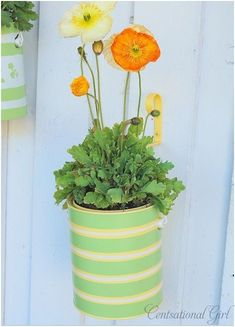 These paint can planters are easy to make and really spruce up a space. To make: Clean the labels and drips off your can Spray paint your can and accompany