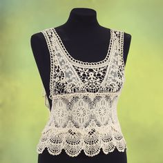 Vintage Crocheted Lace Top - New Age & Spiritual Gifts at Pyramid Collection