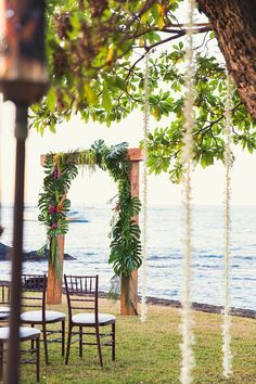 Tropical wedding inspiration can be tired in Hawaii so for Jeanette and Travis' Hawaii Plantation Theme, we wanted to come up with some fresh modern ways to create Tropical Elegance that was still fun and playful! We chose dark wood tables and a lace runn Maui Weddings, Hawaii Wedding, Island Weddings, Tropical Weddings, Destination Wedding, Wedding Set Up, Wedding Ideas, Ceremony Backdrop, Decoration Table