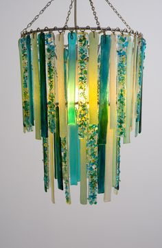 """Recycled glass baby chandelier in aqua, green and white 11"""" top. commissioned by client - www.loverslights.com Photo by www.andydawsonphotography.co.uk"""