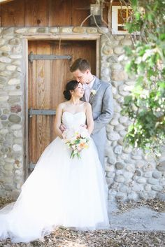Omgosh, I am in love with her dress, and I love the groom's suit color as well<3