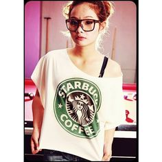 STARBUCKS T-Shirt Crop Top Wide Neck Shirt Antique Off White Women Tee... ($17) ❤ liked on Polyvore featuring tops, t-shirts, shirts, models, people, off white tops, shirt tops, off white tee, cropped tops and tee-shirt