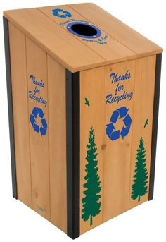 Durable And Simple Recycle Bin With Wood Material