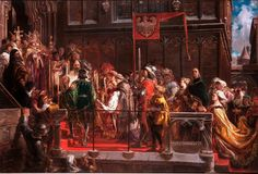 """Jan Matejko: """"Baptism of Ladislaus of Varna"""", oil on canvas, Dimensions: 112 , × 166 cm × in), Current location: National Museum in Warsaw (MNW. Poland History, European Languages, Christian Art, 15th Century, National Museum, Byzantine, World History, Art Boards, Oil On Canvas"""