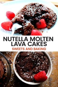 If the stomach is a way to a mans heart than they will love this baked Nutella Molten Lava Cake recipe! Gooey molten lava cakes ooze out pure chocolate goodness layered with Nutella. Dessert does not get more delicious or better yet easier than this! Serve this yummy recipe on Valentines Day for extra brownie points!