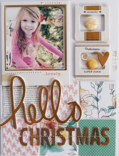 Hello Christmas - Scrapbook.com - You dont have to use Christmas themed papers and embellishments to create a beautiful Christmas morning layout!