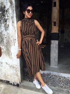 Dress. Tenun Lurik. Lulu Lutfi, Jogjakarta. Batik Kebaya, Kebaya Dress, Batik Dress, Kimono, Batik Fashion, Fashion Dictionary, Indian Blouse, Indian Fashion, Womens Fashion