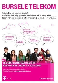 Compania TELEKOM Romania se implică în educarea tinerei generaţii prinprogramul Bursele TELEKOM, care oferă sprijin material tinerilorambiţioşi şi talentaţi. Bursele Telekom continuă astfel cu su...