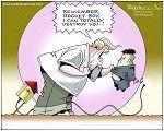 Cartoon by Paul Fell, Trump and Kim  --  --