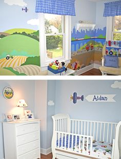 Aidan's room is perfect for kids on the go!    It features hand painted murals inspired by our Trains, Planes & Trucks Wall Murals.