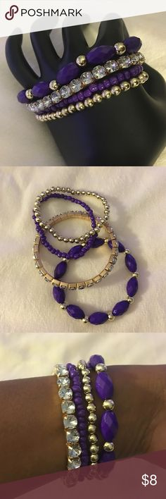 Purple bracelet set Purple and gold rhinestones beaded bracelet set Jewelry Bracelets