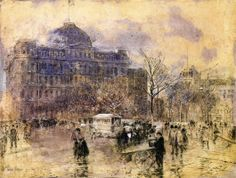 Nocturne, Railway Crossing, Chicago - Childe Hassam - WikiPaintings.org