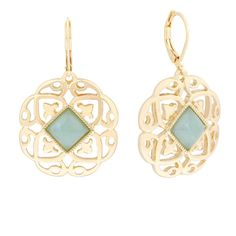Monet Green Stone Gold-Tone Drop Earrings ($12) ❤ liked on Polyvore featuring jewelry, earrings, monet jewellery, stone jewellery, green earrings, drop earrings and gold tone drop earrings