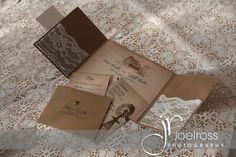 Rustic country wedding invitations with lace pockets by Karta House.  www.divine-weddings.ca