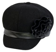 28c2c34a178 Womens Wool Blend Newsboy   Cabbie Winter Hat   Cap with Faux Leather  Flower Accent