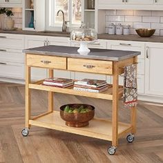 Amazon.com: Home Styles Natural Designer Utility Cart with Stainless Steel Top: Kitchen & Dining