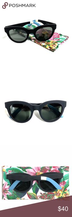 TOMS | Traveler Sunglasses NWOT — Never Worn! Adorable cat eye sunglasses in a matte black rubberized texture. Comes with a super cute floral fabric sunglass case! Toms Accessories Sunglasses