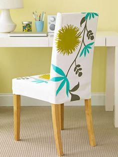 Take advantage of fabric you already own to adorn a plain slipcover.