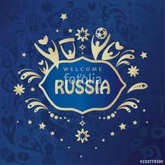 2018 World Cup RUSSIA FOOTBALL poster. 2018 Sports collection  Welcome to Russia inscription, text gold logo, world cup invitation, ticket abstract dynamic background Russian folk art traditional ornament, sport award champion symbols blue pattern vector banner template. FIFA 2018, flyer, invitation, ticket.