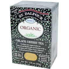 St. Dalfour, Organic, Black Cherry Tea, 25 Tea Bags, 1.75 oz (50 g) - iHerb.com. Bruk gjerne rabattkoden min (CEC956) hvis du vil handle på iHerb for første gang. Da får du $5 i rabatt på din første ordre (eller $10 om du handler for over $40), og jeg blir kjempeglad, siden jeg får poeng som jeg kan handle for på iHerb. :-)