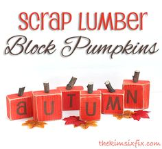 Scrap wood pumpkins, cute!