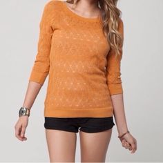 "Fate Pointelle Top It's beautiful orange sweater with three quarter sleeve. It need a tank top under the sweater. It is brand new and I took tag off. 100% Cotton Measurement Laying flat: Bust: 17.5"" Length: 26"" O'Neill Sweaters"