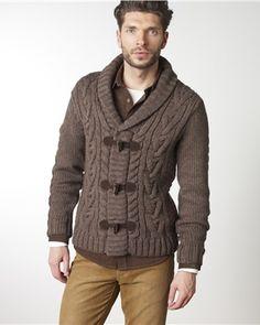 Cable-knit shawl collar cardigan