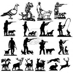 hunting collection silhouettes  Stock Photo - 6255121