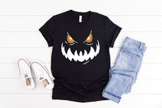 Scary Pumpkin Faces, Autumn T Shirts, Creepy Halloween, Homemade Gifts, My Etsy Shop, Tees, How To Make, Shopping, Black