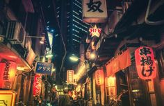If you ever travel to Tokyo Japan, make sure to wander around the back alleys to discover amazing places like this! Tokyo Night, Japan Street, Tokyo Streets, Blue City, City Landscape, Japan Landscape, Ghost In The Shell, Background Pictures, Street Signs