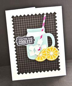 Handmade card from Lisa Johnson featuring Mason Jar Labels stamp set, Fine Check Background stamp, Mason Jar Mug and Pinking Edge Rectangle STAX Die-namics #mftstamps