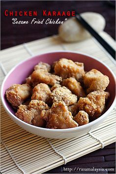 Chicken Karaage (Sesame Fried Chicken) Recipe: Japanese chicken karaage or sesame fried chicken. Do try the recipe and let me know what you think. If you love Japanese food, you might want to check out my Japanese recipes, for example: miso ramen, steamed clams with sake, tofu salad, grilled cod with miso, and more!