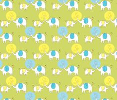 Elephant Love Green fabric by candmedesigns on Spoonflower - custom fabric