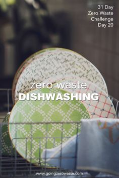 Zero Waste Dishwashing - Day 20 of the Zero Waste Challenge - Going Zero Waste - Going Zero Waste: eco friendly lifestyle tips, recipes, and diys - conscious Eco Friendly Cleaning Products, Homemade Cleaning Products, Cleaning Recipes, Water Waste, No Waste, Reduce Waste, Recycling, Waste Reduction, Washing Dishes