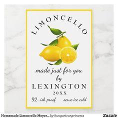 Homemade Limoncello Meyer Lemons Bottle Label | Mini Bottles, Liquor Bottles, Lemon Liqueur, Homemade Limoncello, Custom Mason Jars, Food Labels, Food Containers, Bottle Design, Bottle Labels