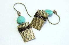 African Opal Earrings Hammered Brass Wire Wrap by JillianDesigns4u, $24.00