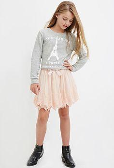 Girls Scalloped Lace Skirt (Kids) | Forever 21 girls - 2000182114