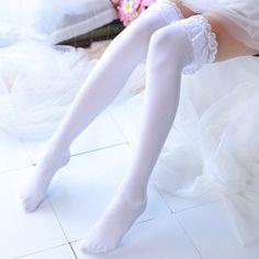 Frilly Socks, Lace Socks, White Thigh High Socks, Nylons, Pretty Little Girls, Bra Lingerie, Aliexpress, Thigh Highs, Lace Detail