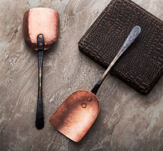 Hand-forged from locally sourced raw copper, with copper rivets and a beautiful hammered bronze handle, this grain scoop is the perfect accessory to any kitchen. Copper Pots, Hammered Copper, Custom Kitchen Knives, Cooking Gadgets, Cooking Tools, Kid Cooking, Handmade Chef Knife, Copper Utensils, Cast Iron Recipes