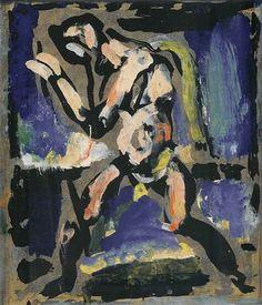 Georges Rouault (1871-1958) was een Franse expressionistische en fauvistische schilder, in 1885 ging hij in de leer bij een glasschilder. Deze scholing wordt ook gezien als bron voor zijn stijl van dikke zwarte contourlijnen en heldere kleuren. Rouault gebruikte sterke contrasten en emoties. Zijn werk lijkt sterk beïnvloed door Vincent van Gogh en Paul Gauguin. Het benadrukken van groteske trekken en emoties inspireerde expressionistische schilders.