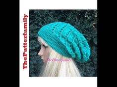 3fb1801aacc Crochet tutorial that teaches you how to make a crocheted slouch hat using  the Butterfly Stitch