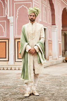 Wedding Sherwani - Buy Karanj Sherwani for men Online - A18SR03RSA_Off-White - Anita Dongre